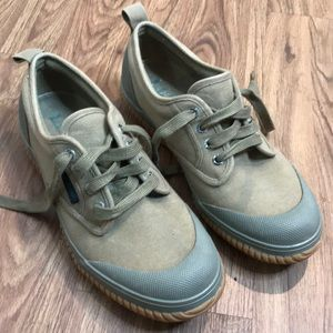 Lands End Army Green Canvas Rubber Duck Shoes Sz 9